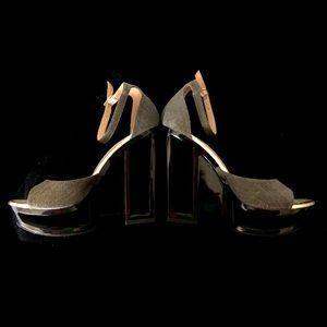 C Label SZ 8.5 See-Thru Platform Heels Ankle Strap